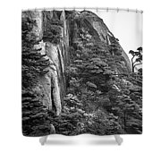 5782- Yellow Mountains Black And White Shower Curtain