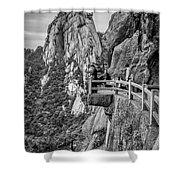 5807- Yellow Mountains Black And White Shower Curtain
