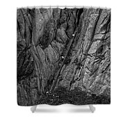 5840- Yellow Mountains Black And White Shower Curtain