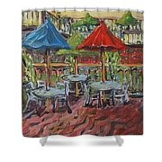 5th  Street Market Tables Shower Curtain