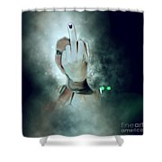 An Obscene Hand Sign Shower Curtain