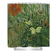 Butterflies And Poppies Shower Curtain