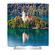 Church Of The Assumption - Lake Bled, Slovenia Shower Curtain