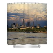 Cleveland Skyline From A Distant Park Shower Curtain
