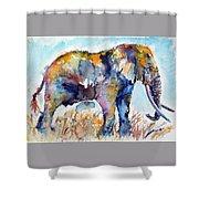 Colorful Cute Elephant Shower Curtain