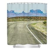 descending into Monument Valley at Utah  Arizona border  Shower Curtain