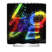 Graphic Display Of The Word Love  Shower Curtain