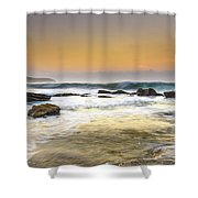 Hazy Dawn Seascape With Rocks Shower Curtain