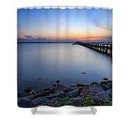 Melbourne Beach Pier Sunset Shower Curtain