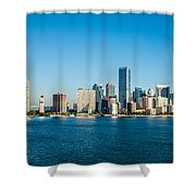 Miami Florida City Skyline Morning With Blue Sky Shower Curtain