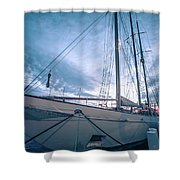 Newport Rhode Island Harbor With Tall Ships At Sunset Shower Curtain