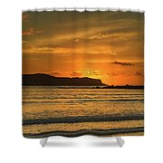 Orange Sunrise Seascape Shower Curtain