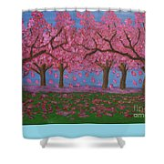 Pink Garden, Oil Painting Shower Curtain