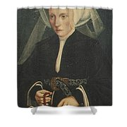 Portrait Of A Lady Holding A Rosary Shower Curtain