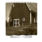 Barn And Wild Flowers Sepia Shower Curtain