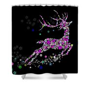 Reindeer Design By Snowflakes Shower Curtain