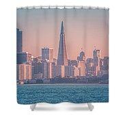 San Francisco California City Skyline At Spring Sunset Shower Curtain