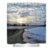 Sunset Over Obear Park In Snow Shower Curtain