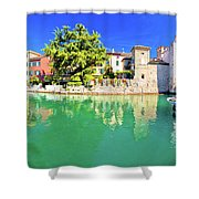 Town Of Sirmione Entrance Walls View Shower Curtain