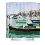 Traditional Boats At Marsaxlokk Harbor In Malta Shower Curtain
