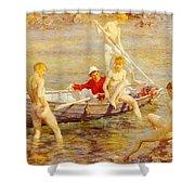 Tuke Henry Scott Ruby Gold And Malachite Henry Scott Tuke Shower Curtain