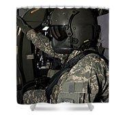 Uh-60 Black Hawk Crew Chief Shower Curtain