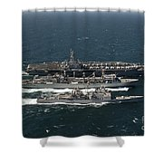 Underway Replenishment At Sea With U.s Shower Curtain