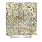 Vintage Map Of London England  Shower Curtain
