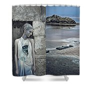 Woman In Ash And Blue Body Paint Shower Curtain