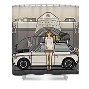 Honda N600 Rally Kei Car With Japanese 60's Asahi Pentax Commercial Girl Shower Curtain