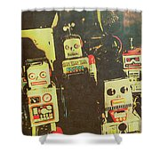 60s Cartoon Character Robots Shower Curtain
