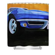 66 Corvette - Blue Shower Curtain