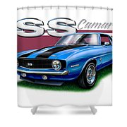 69 Camaro Ss In Blue Shower Curtain