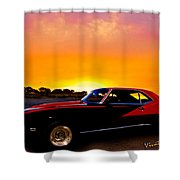 69 Camaro Up At Rocky Ridge For Sunset Shower Curtain