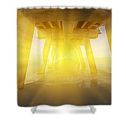 6x1 Under Venice Florida Fishing Pier Shower Curtain