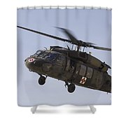 A Uh-60 Blackhawk Medivac Helicopter Shower Curtain