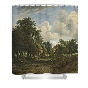 A Wooded Landscape Shower Curtain