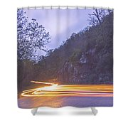 Automobile Traffic Long Exposure At Dusk In Pisgah National Park Shower Curtain