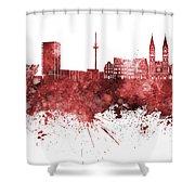 Bremen Skyline In Watercolor Background Shower Curtain