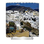Cliff Perched Houses In The Town Of Oia On The Greek Island Of Santorini Greece Shower Curtain