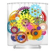 Gears Wheels Design  Shower Curtain