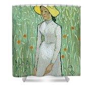 Girl In White Shower Curtain
