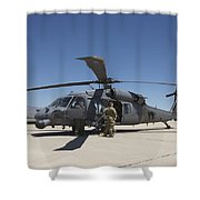 Hh-60g Pave Hawk With Pararescuemen Shower Curtain