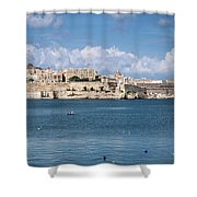 La Valletta Old Town Fortifications Architecture Scenic View In  Shower Curtain