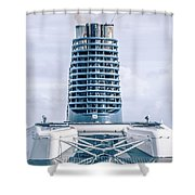 On Deck Of Huge Cruise Liner Ship From Seattle To Alaska Shower Curtain