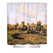 Peasants Lunching In A Field Daniel Ridgway Knight Shower Curtain