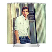 Portrait Of Young American Businessman. Shower Curtain