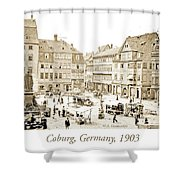 Street Market, Coburg, Germany, 1903, Vintage Photograph Shower Curtain