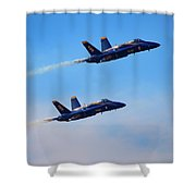 U S Navy Blue Angeles, Formation Flying, Smoke On Shower Curtain