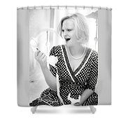 Vintage Val Black And White Shower Curtain